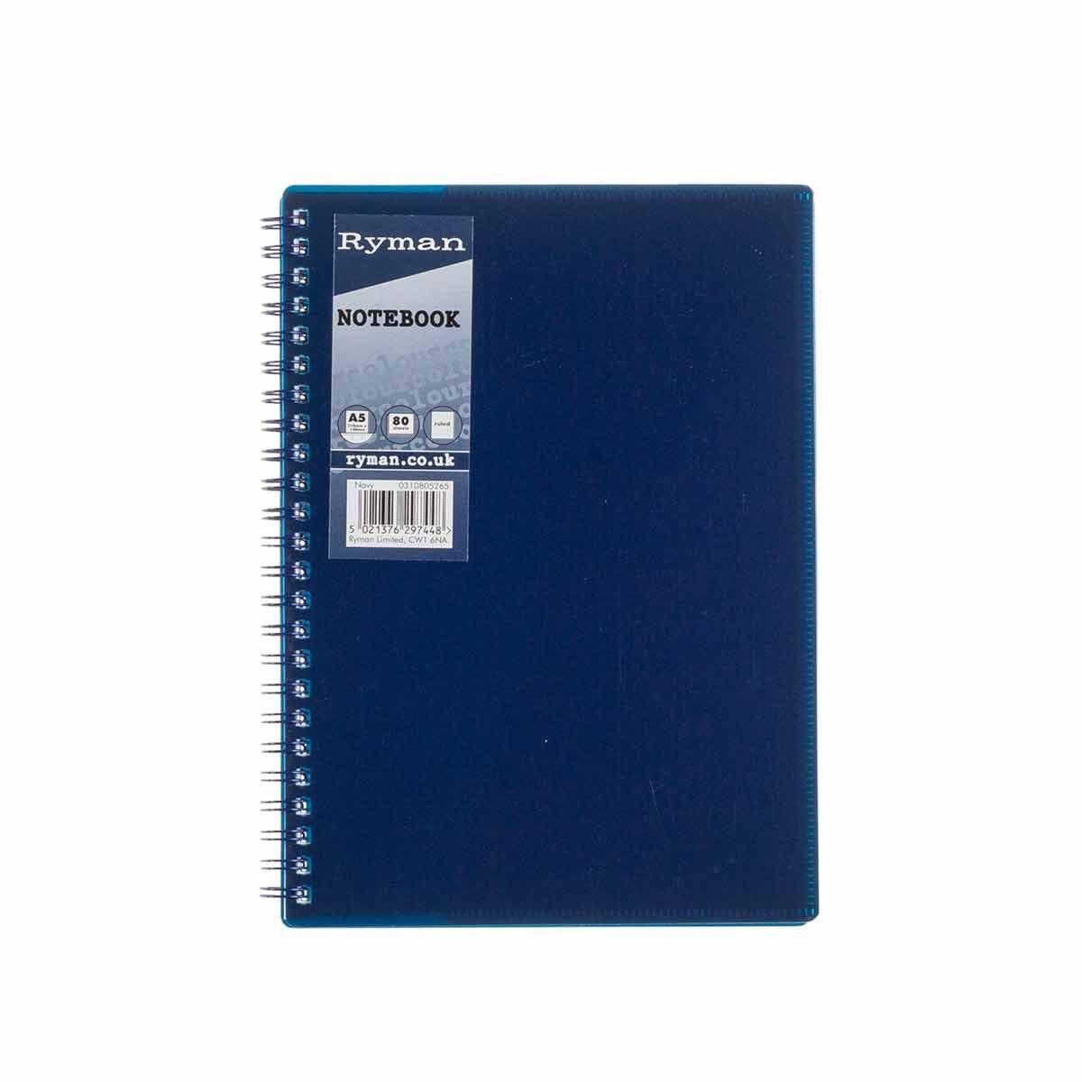 Ryman Pastel Notebook Ruled A5 Navy