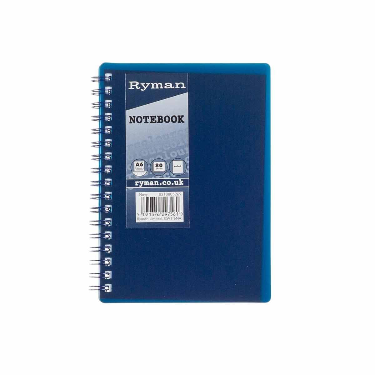 Ryman Pastel Notebook Ruled A6 Navy