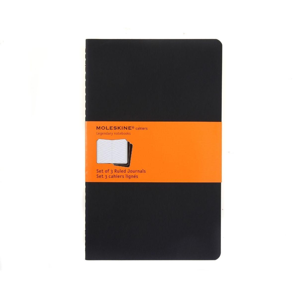Moleskine Cahiers Ruled Large Notebook Pack of 3 Black