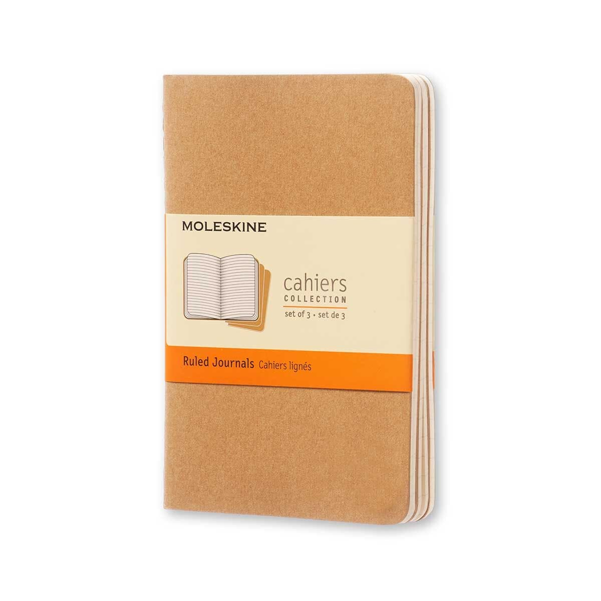 Moleskine Cahiers Pocket Notebooks Pack of 3 Soft Cover Kraft