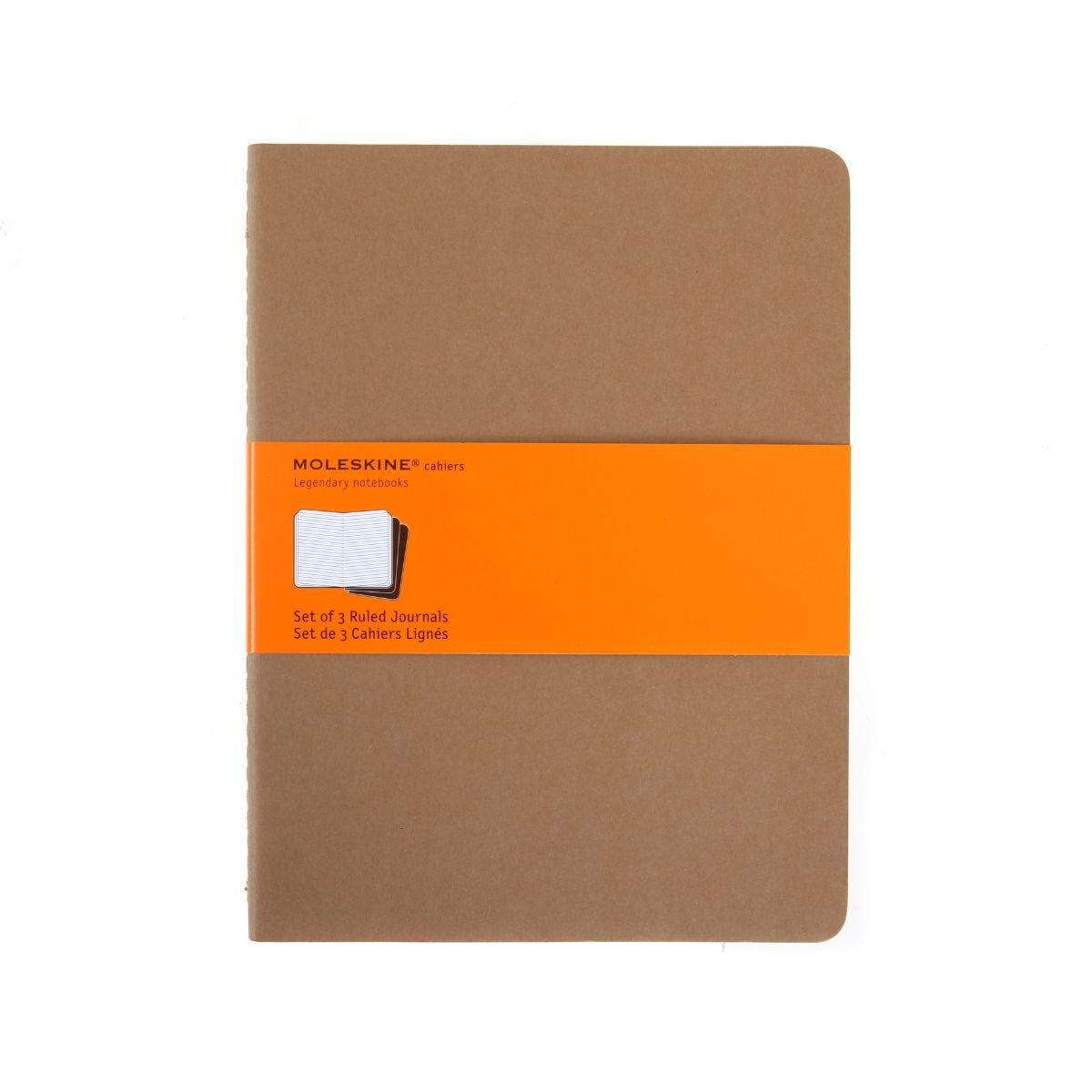 Moleskine Cahier Ruled Notebook Extra Large Pack of 3 Soft Cover Kraft