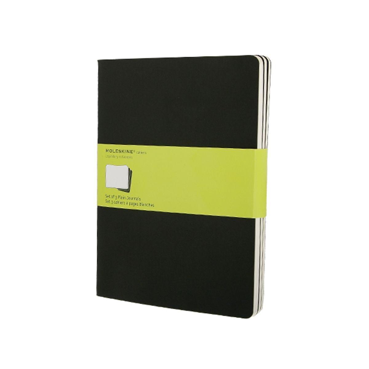 Moleskine Cahier Notebook XL Plain Pack of 3 Black