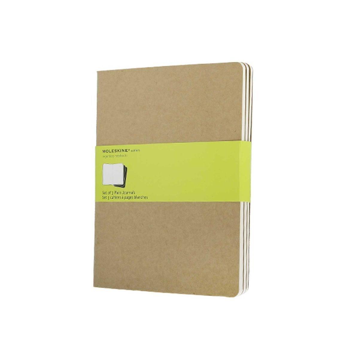 Moleskine Cahier Notebook XL Plain Pack of 3 Kraft