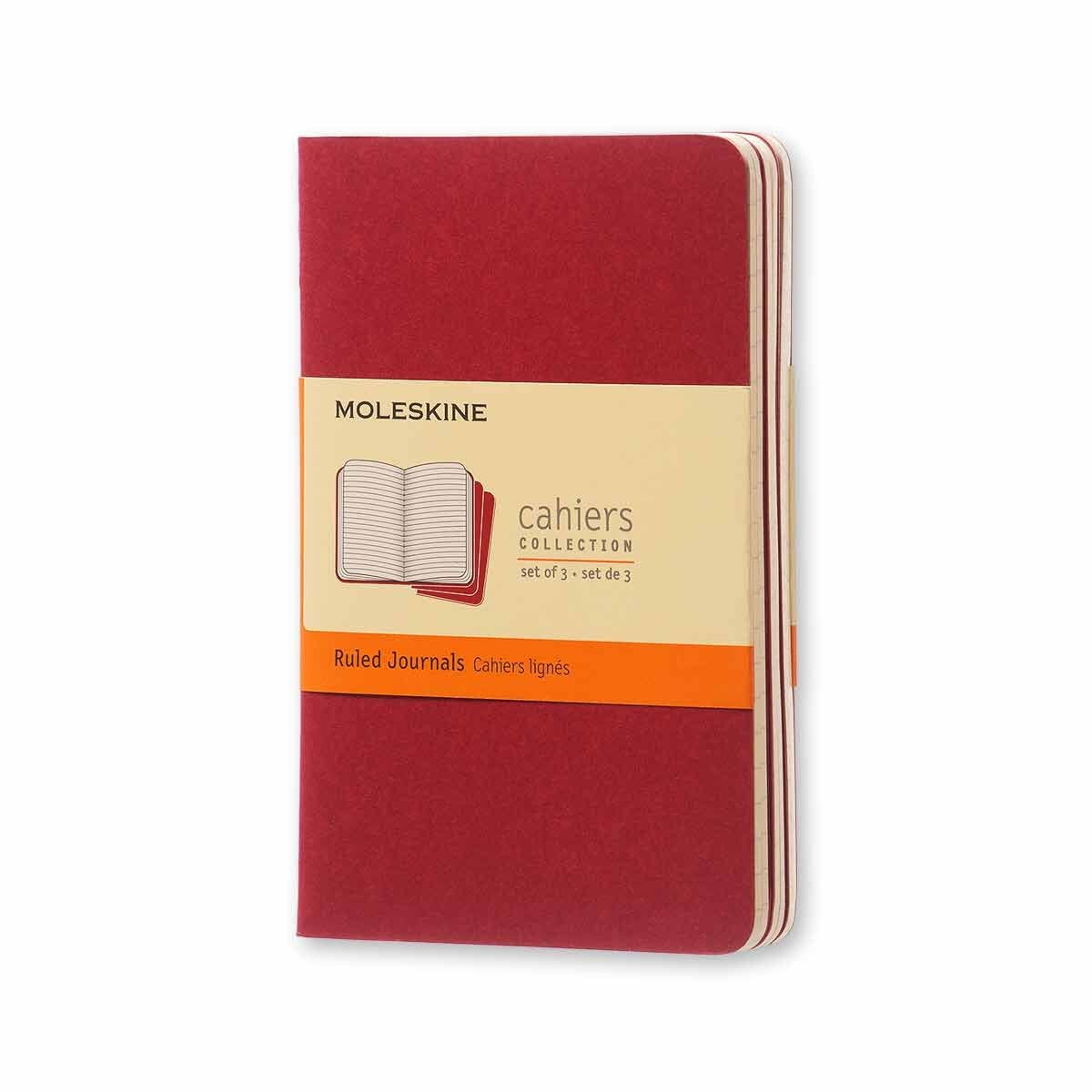 Moleskine Cahiers Notebook Pocket Ruled Pack of 3 Cranberry