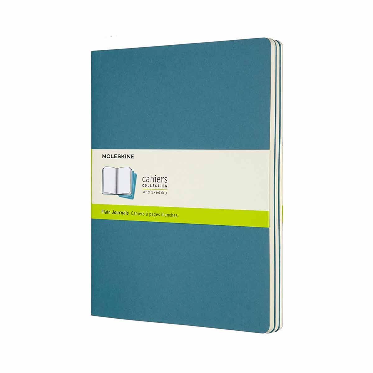 Moleskine Cahier Notebook XL Plain Pack of 3 Brisk Blue