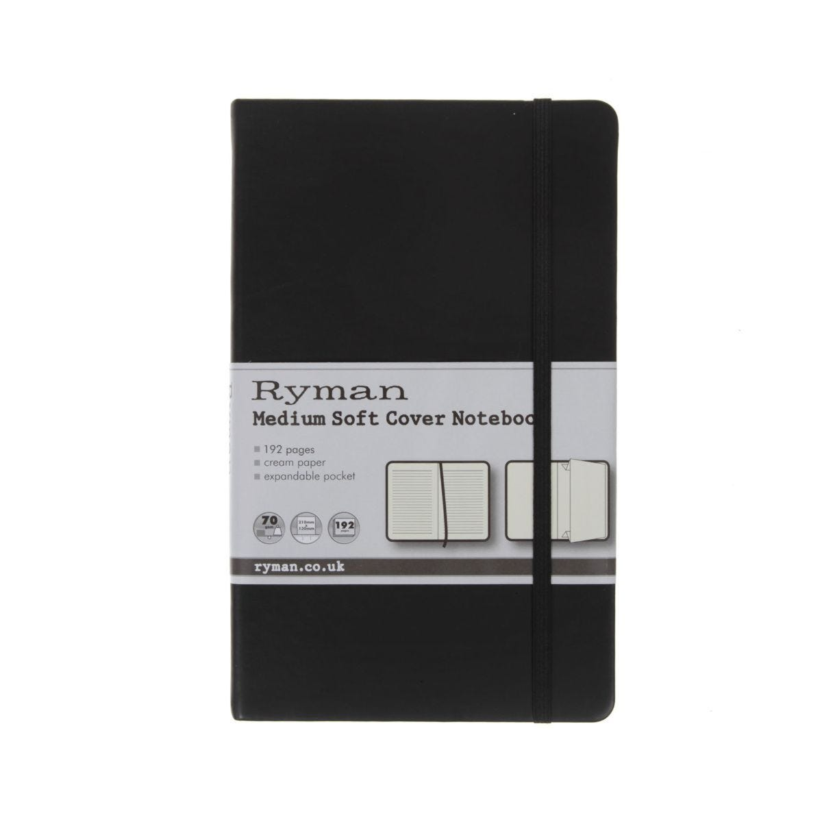 Ryman Notebook Medium Ruled Soft Cover 192 Pages 96 Sheets Black