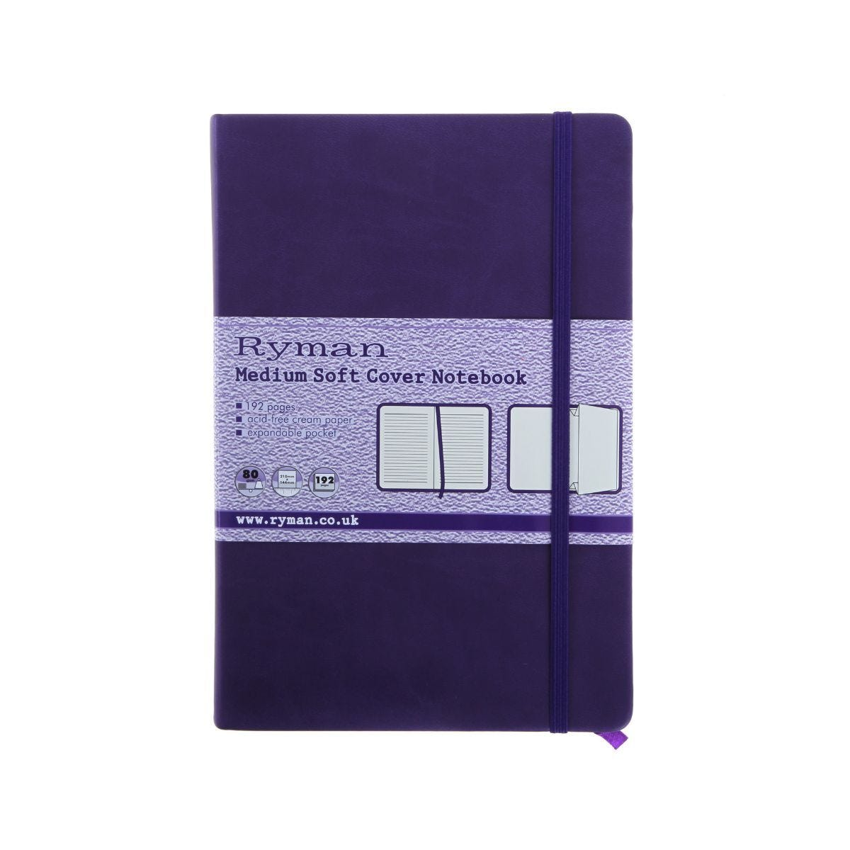 Ryman Soft Cover Medium Notebook Ruled 192 Pages Purple