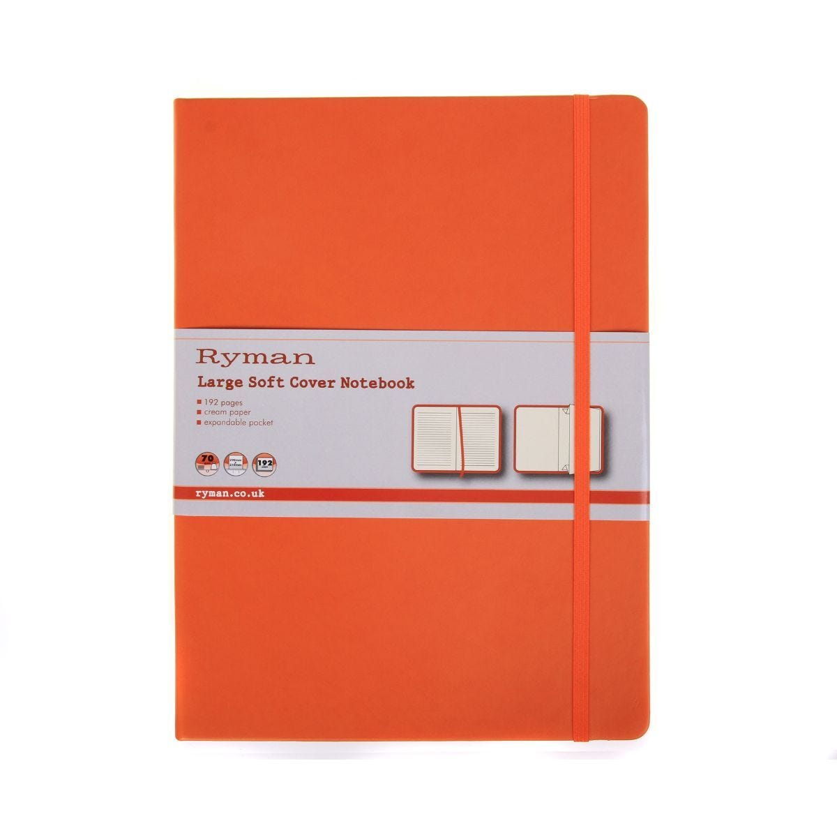 Ryman Soft Cover Notebook Large Ruled 192 Pages 96 Sheets Orange