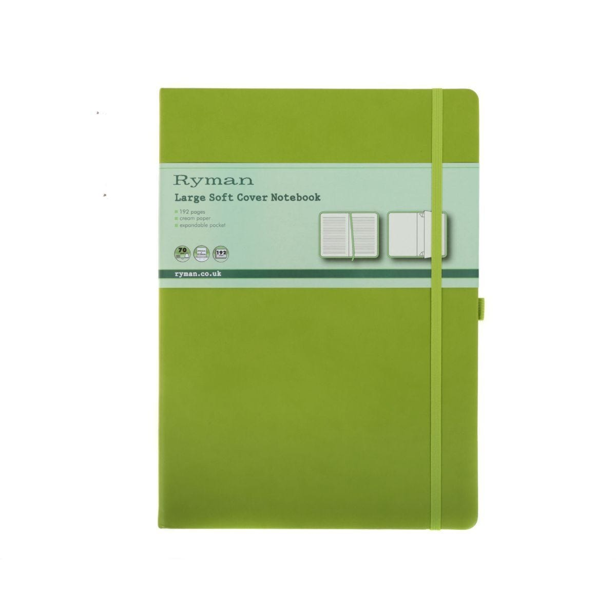 Ryman Soft Cover Notebook Large Ruled 192 Page Lime Green