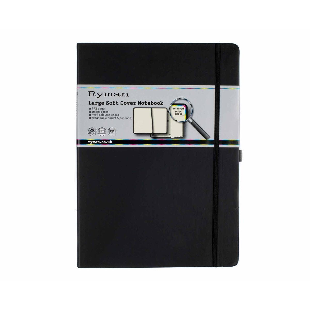 Ryman Soft Cover Notebook Large Ruled 192 Pages Black