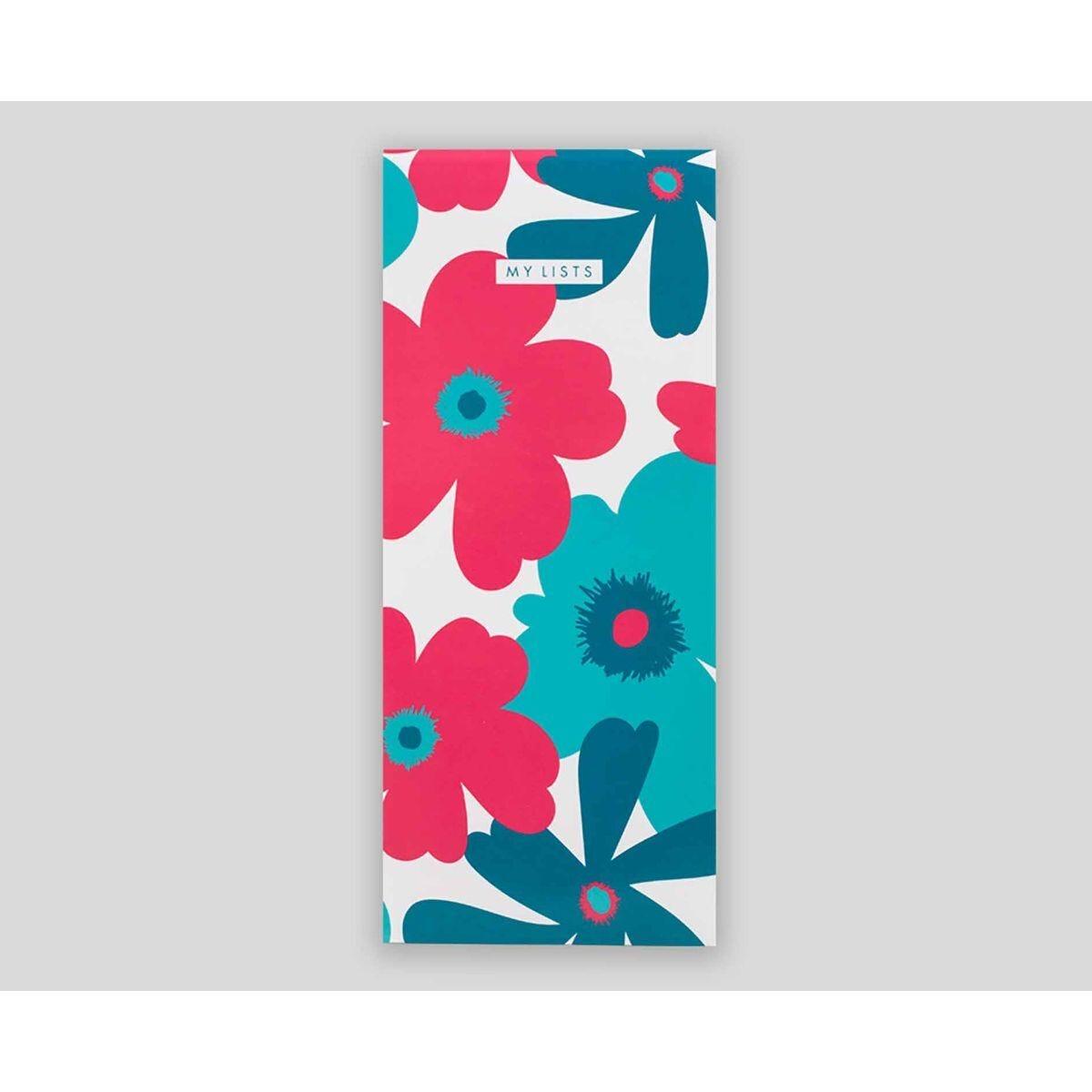 Matilda Myres Floral List Pad Slim Lined 200 Pages Blue