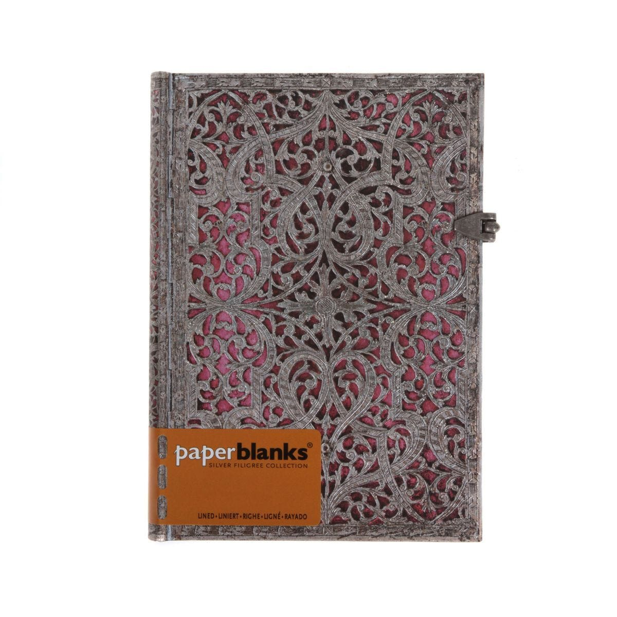 Paperblanks Silver Filigree Maya Blue Midi Blush Pink