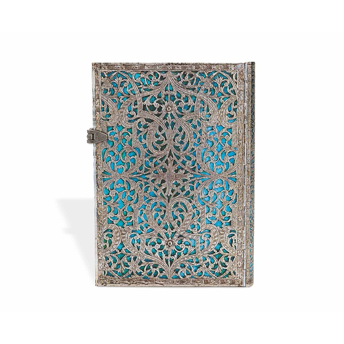 Paperblanks Silver Filigree Maya Blue Midi