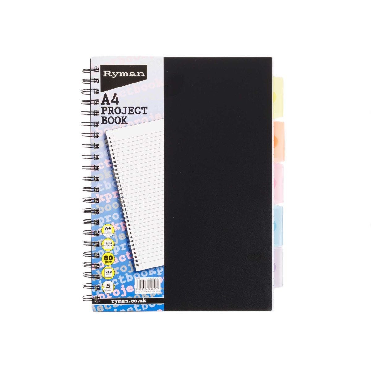 Ryman Project Book A4 5 Dividers Pack of 3 Black