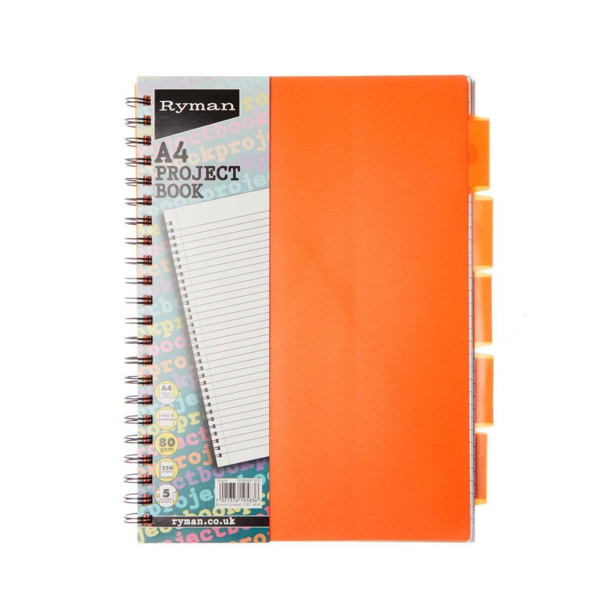Ryman Project Book A4 5 Dividers Pack of 3 Pink