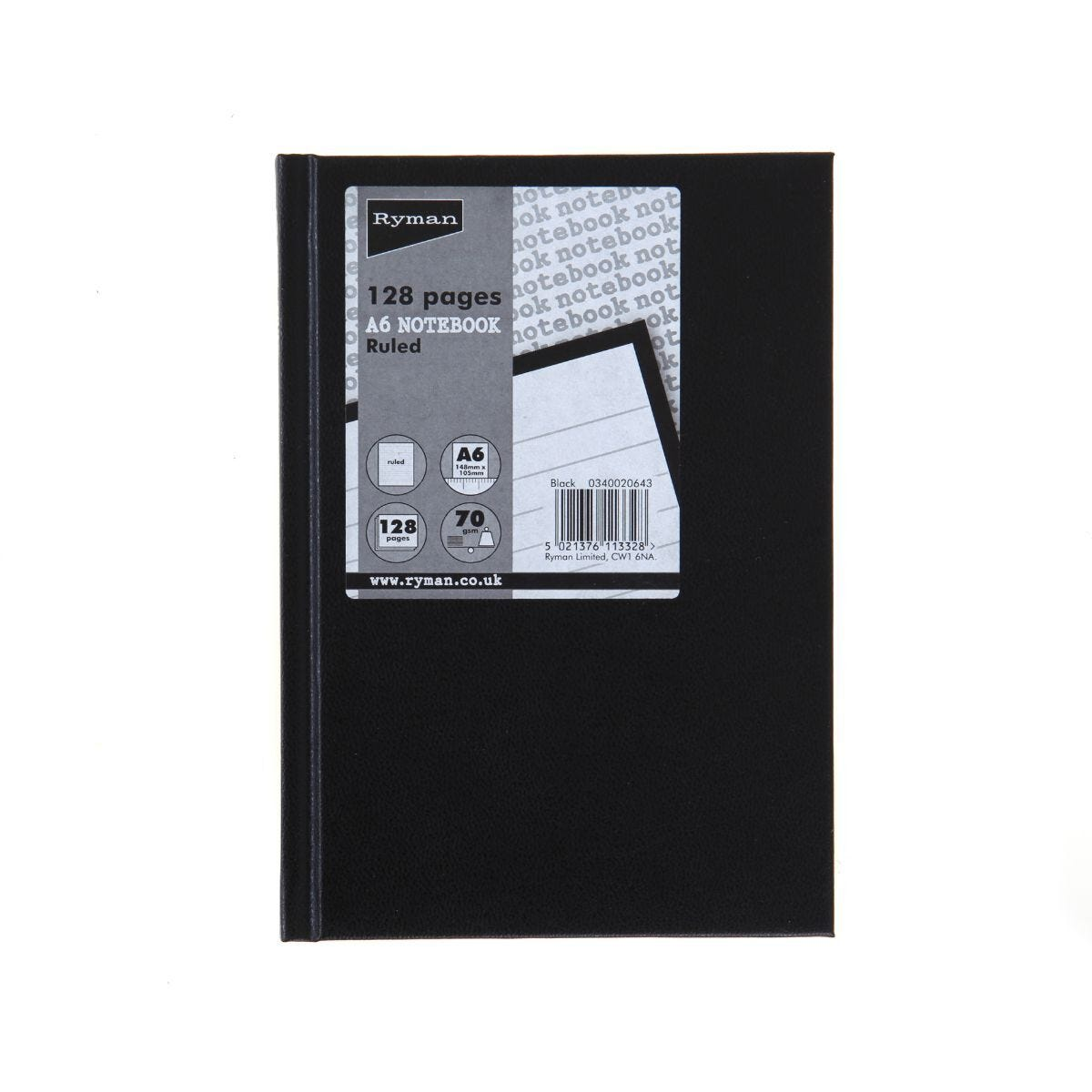Ryman Casebound Memo Book Ruled A6 128 Pages 70gsm