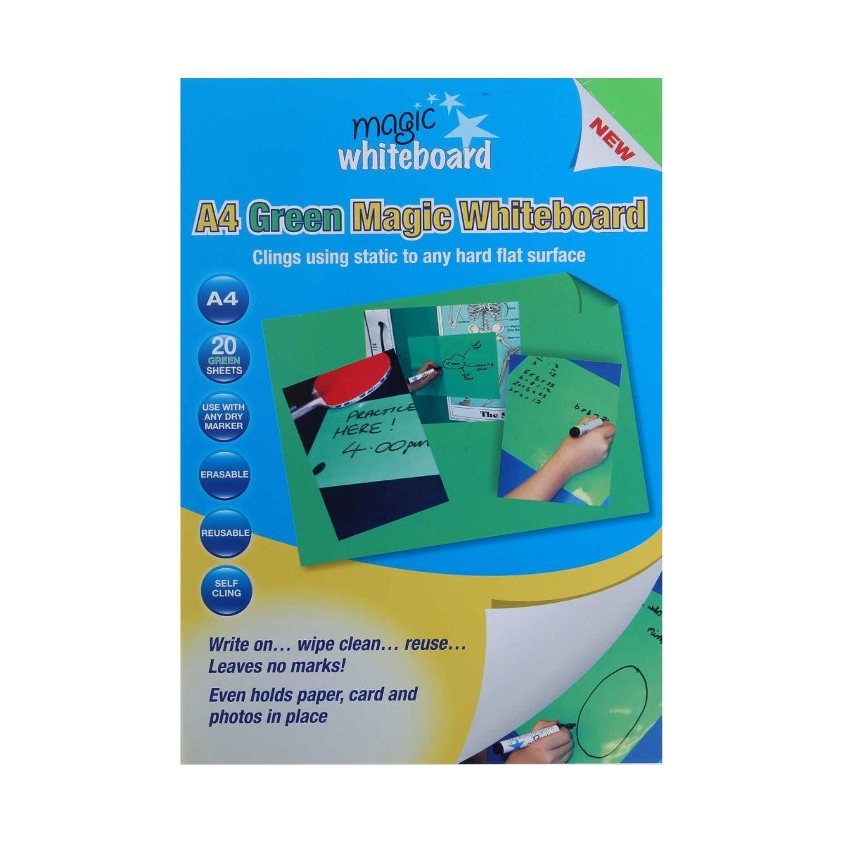 Magic Whiteboard Sheets A4 Pack of 20 Green