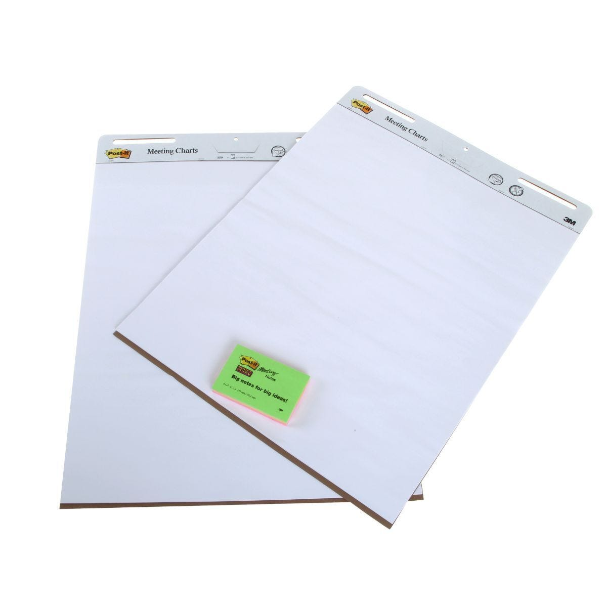 Post-It Meeting Chart Super Sticky Pack of 2 Plus free Post It Notes