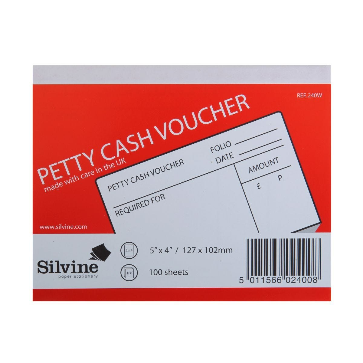 Silvine Petty Cash Voucher 100 Sheets