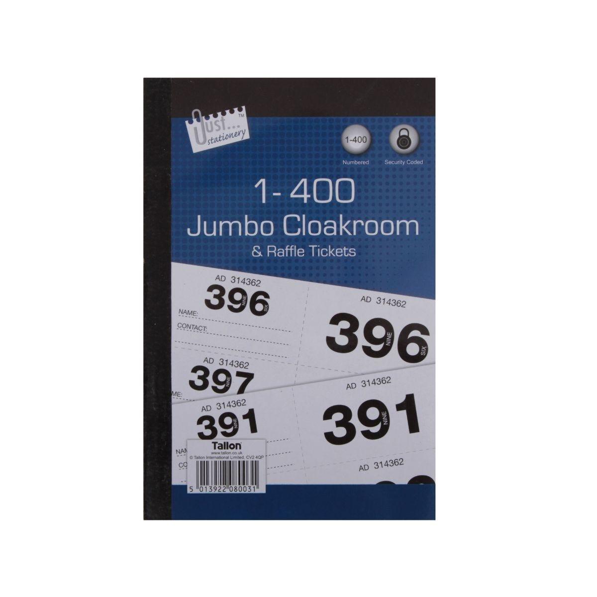 Jumbo Cloakroom & Raffle Tickets 1-400