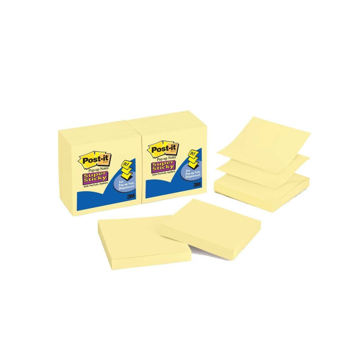 Post-It 2-Note Refill Pack, 1 Pack of 12 Pads 76 x  76mm
