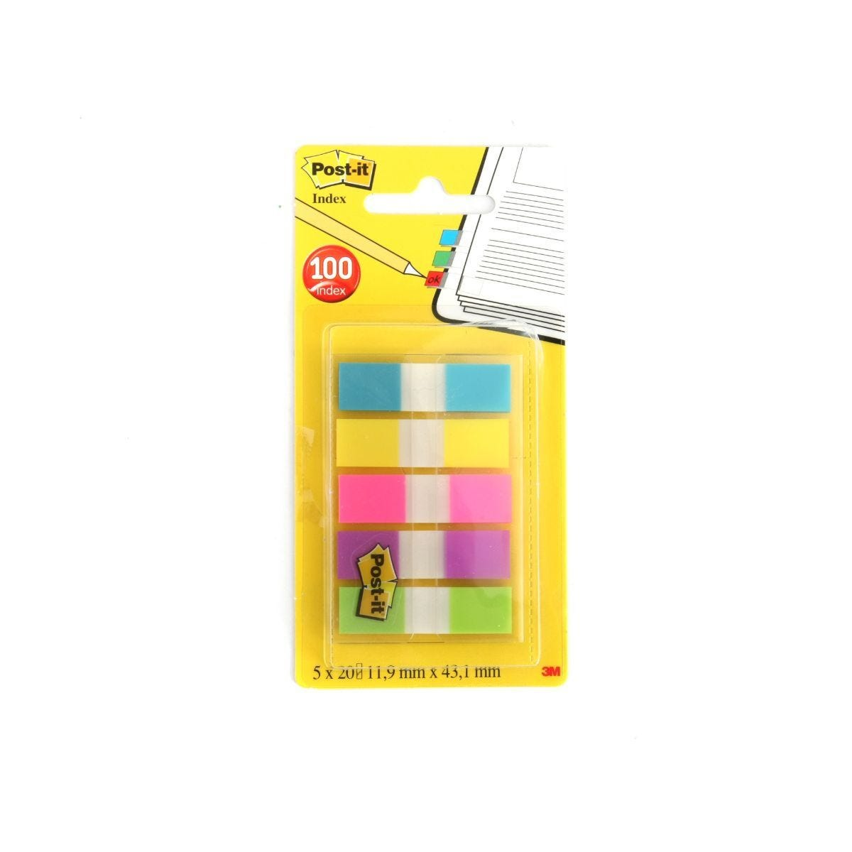 3M Post It File Index Tabs 43x12mm 100 Sheets