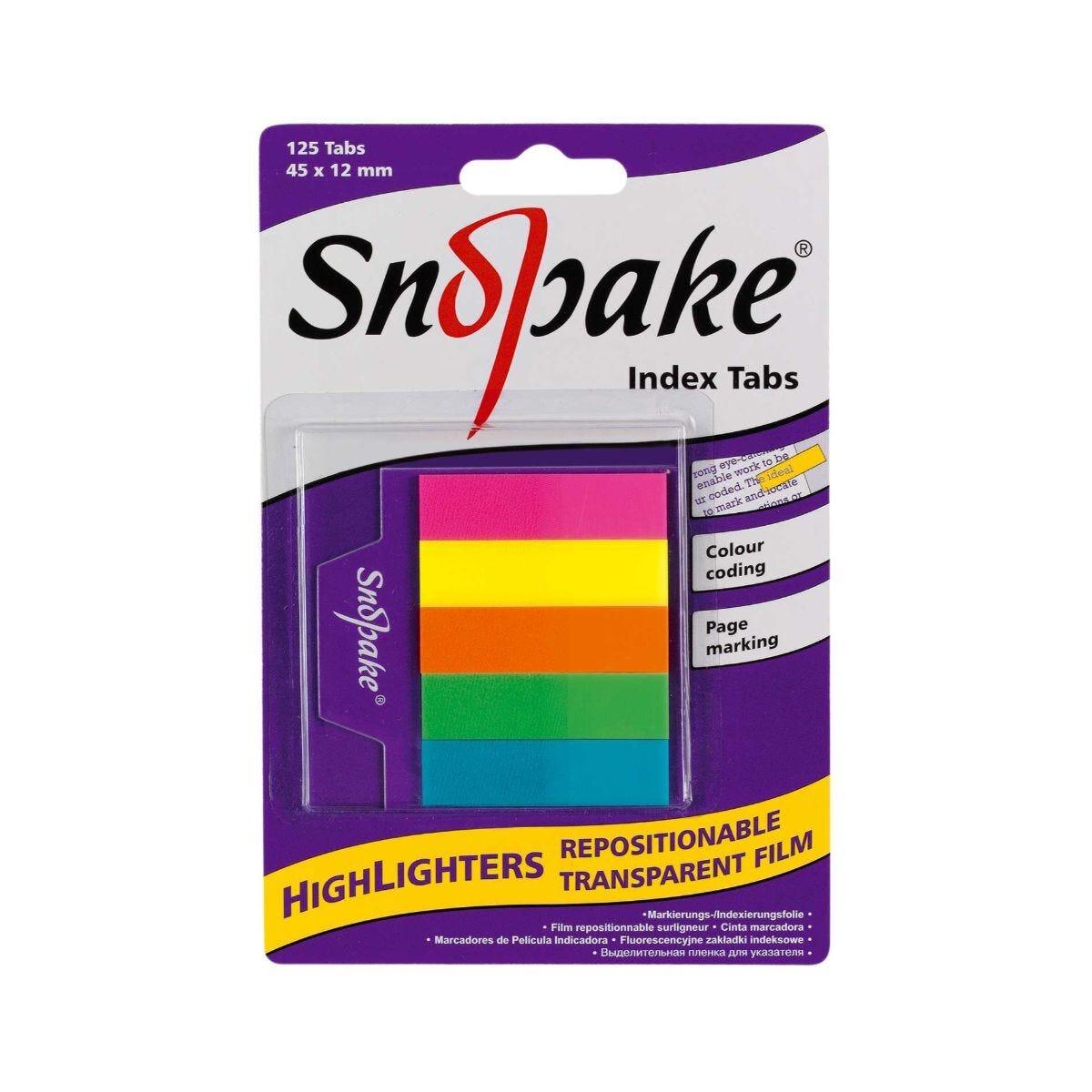 Snopake Tab Highlighters 45x12mm 125 Sheets