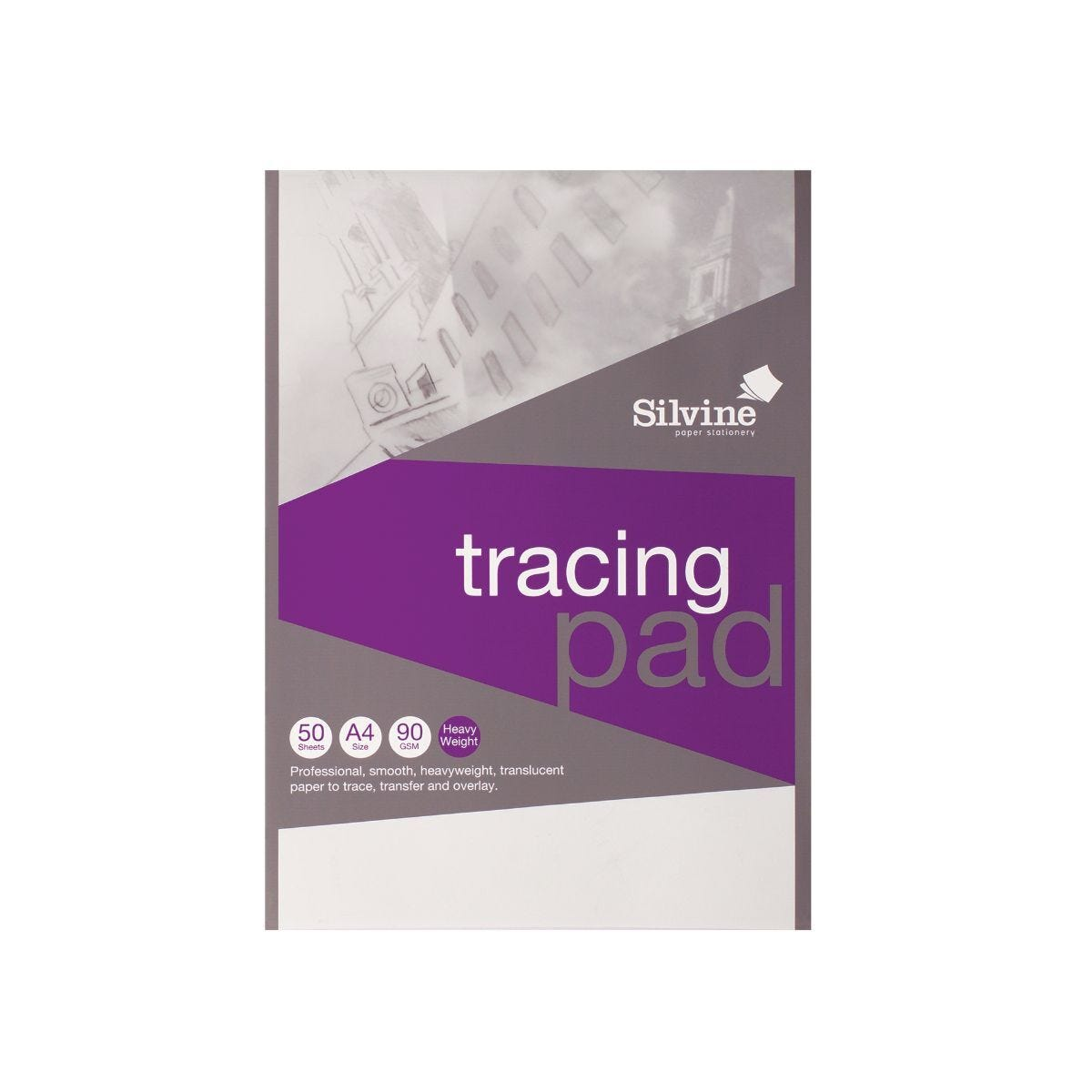 Silvine A4 Professional Tracing Pad 50 Sheets 90gsm Pack 10