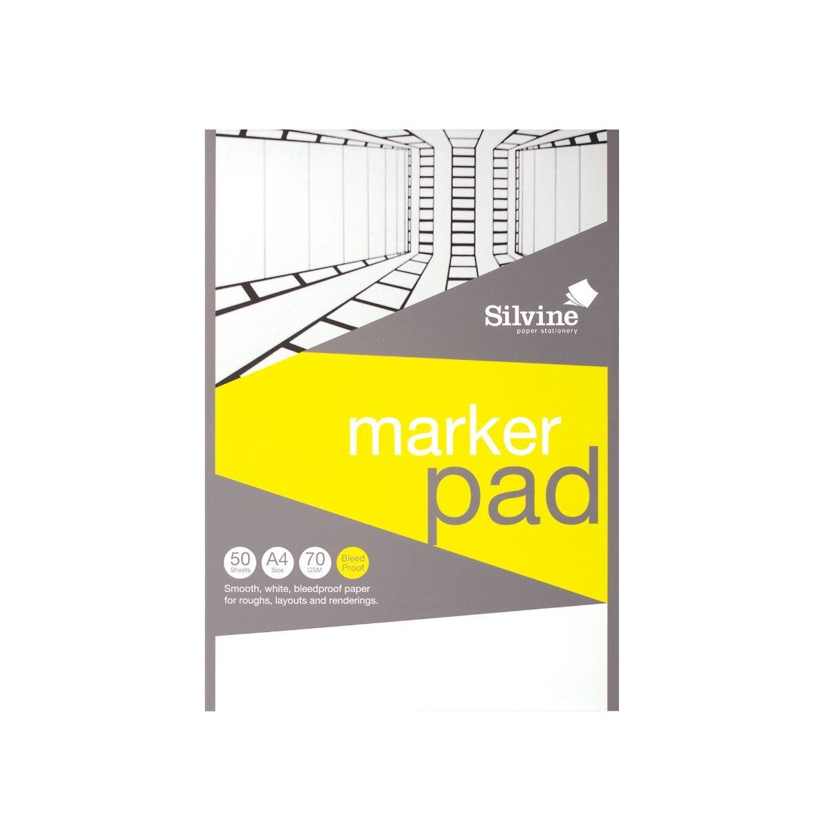 Silvine A4 Marker Bleed proof Pad 50 Sheets 70gsm