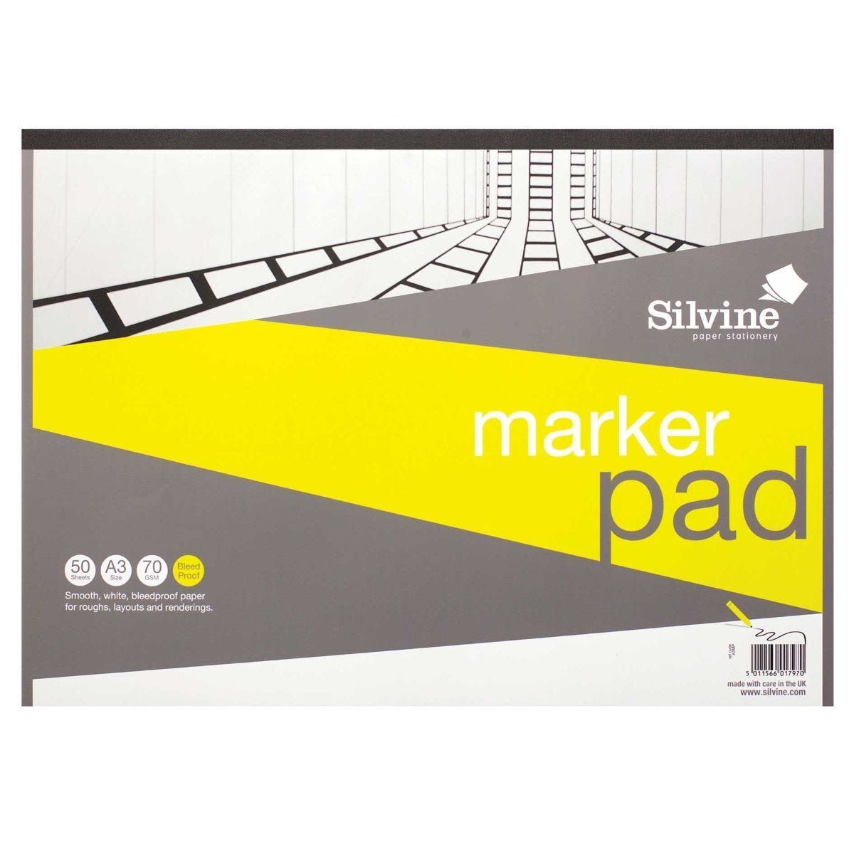 Silvine A3 Marker Bleed Proof Pad 50 Sheets 70gsm