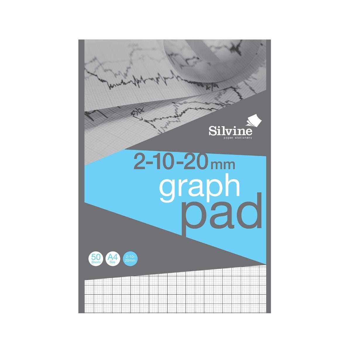 Silvine A4 Professional Graph Pad 20mm 50 Sheets 85gsm