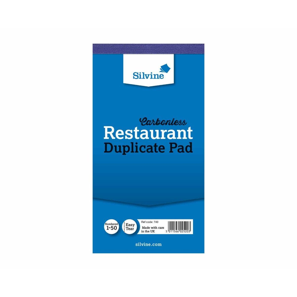 Silvine Duplicate Carbonless Restaurant Pad No.1-50