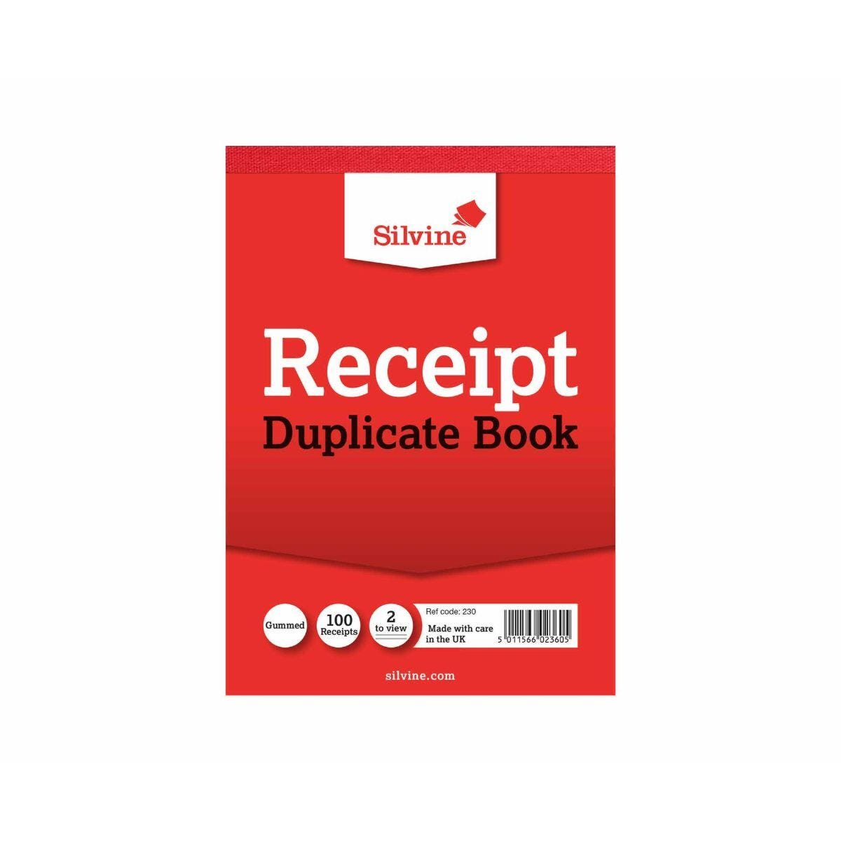 Silvine Duplicate Cash Receipt Book Gummed 50 Sheets (Reference Number 230)