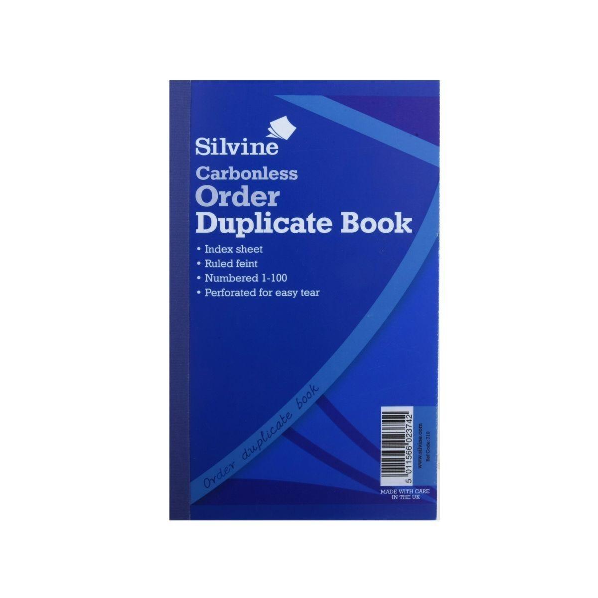 Silvine Duplicate Order Book Carbonless Carbonless Numbered 1-100 100 Sheets