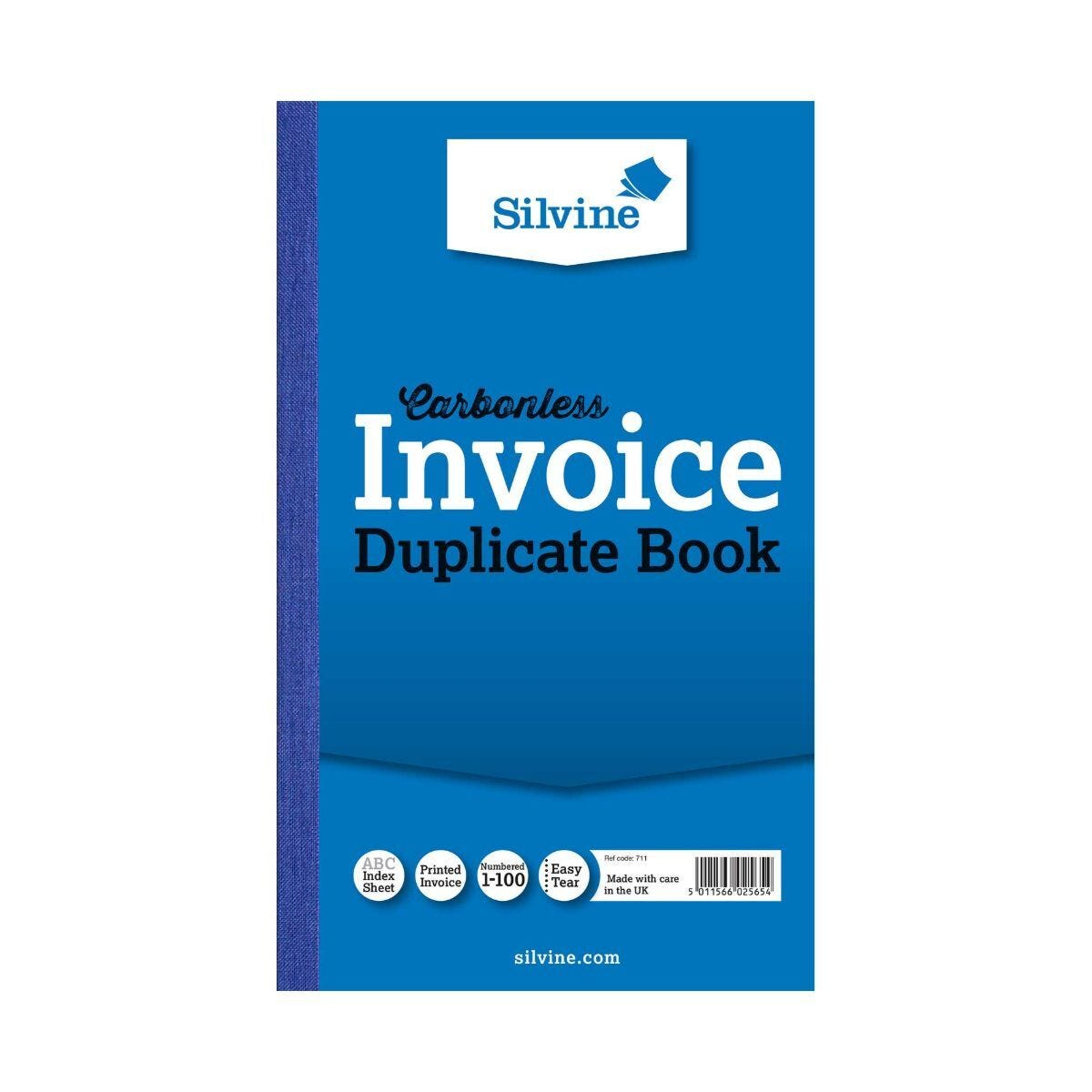 Silvine Duplicate Invoice Book Carbonless Numbered 1-100 100 Sheets