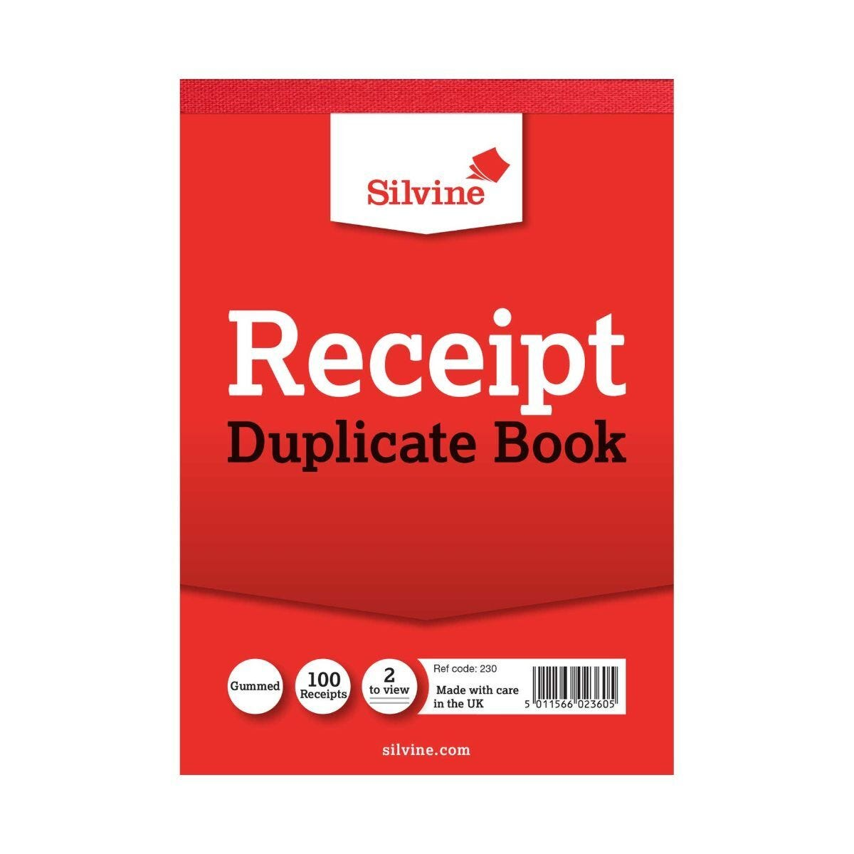 Silvine Cash Receipt Book Duplicate Carbon 230 Pack of 12