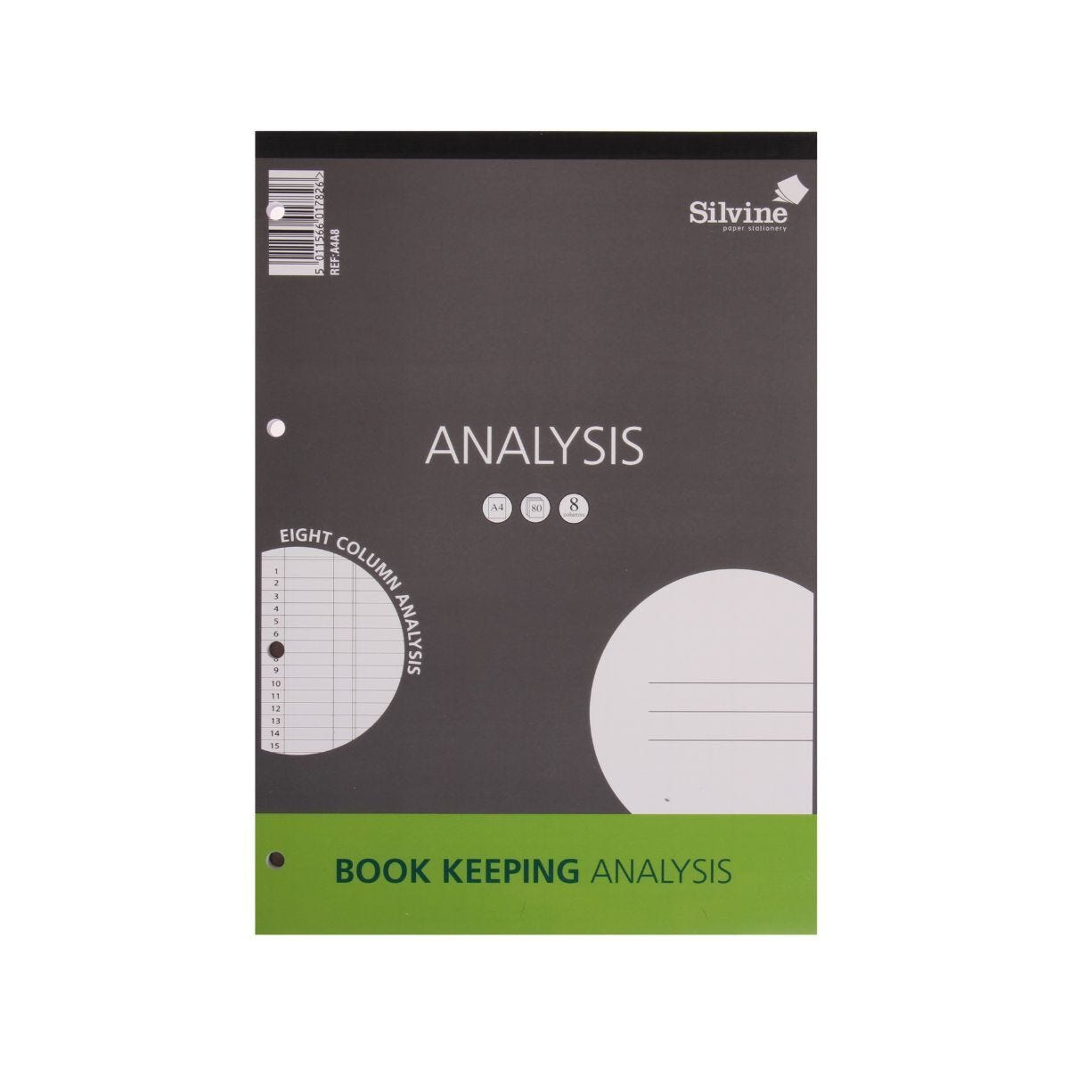 Silvine Analysis Pad A4 8 Column 160 Pages 80 Sheets