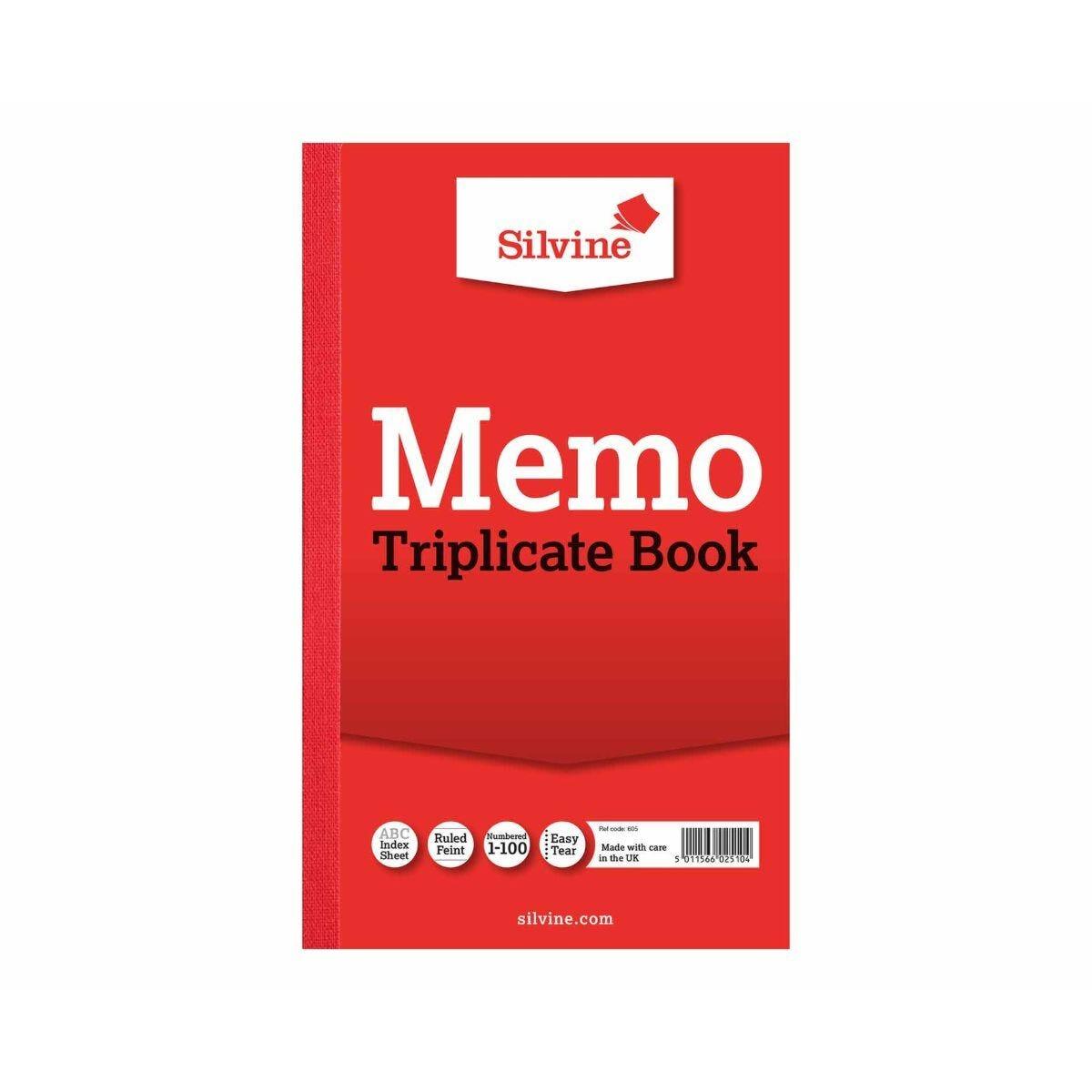 Silvine Triplicate Memo Book 605 Ruled and Perforated Feint 100 Sheets