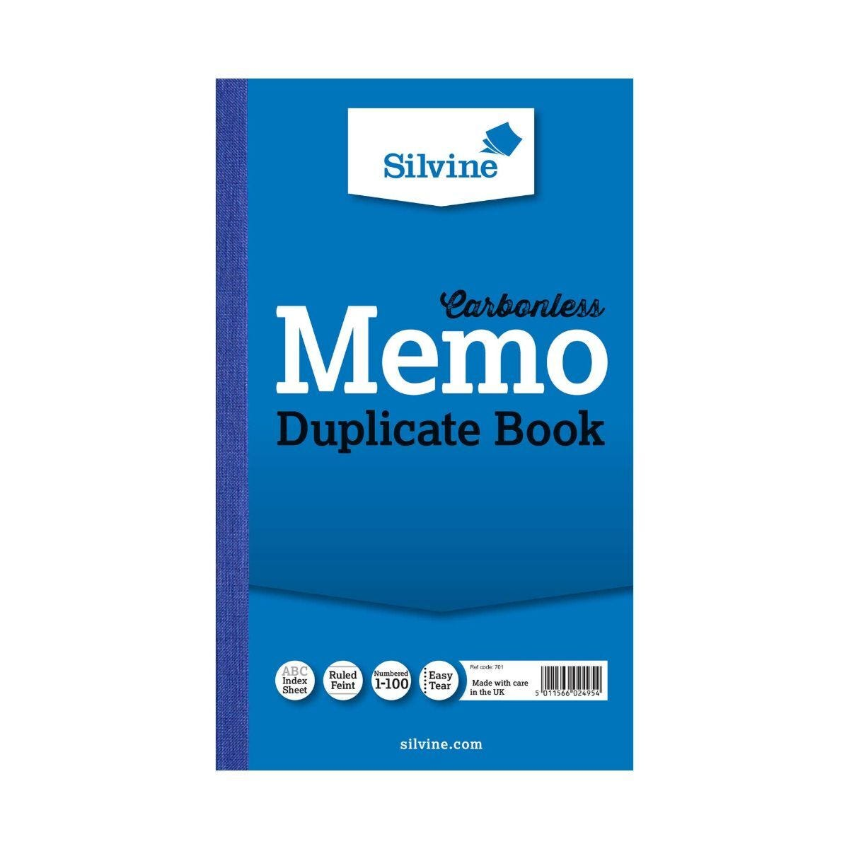 Silvine Duplicate Memo Book 701 Ruled and Perforated Carbonless 100 Pages 50 Sheets