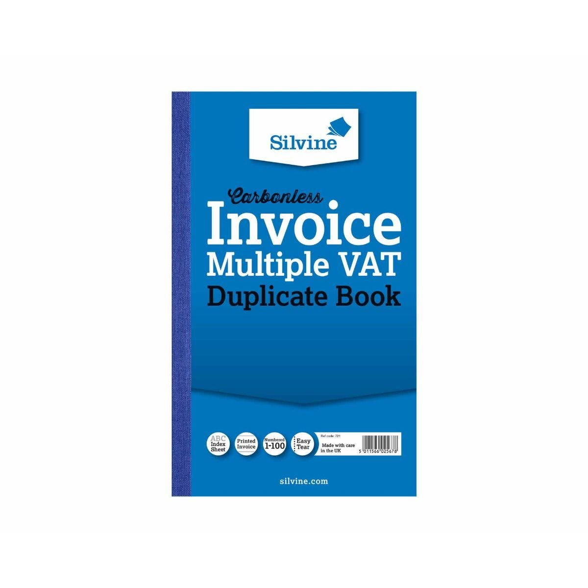 Silvine Carbonlesss Duplicate Invoice VAT Book 100 Sheets