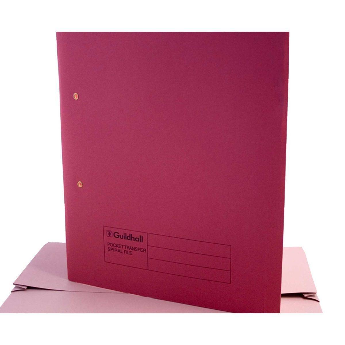 Pocket Transfer Spiral File Foolscap Pack of 25 Red