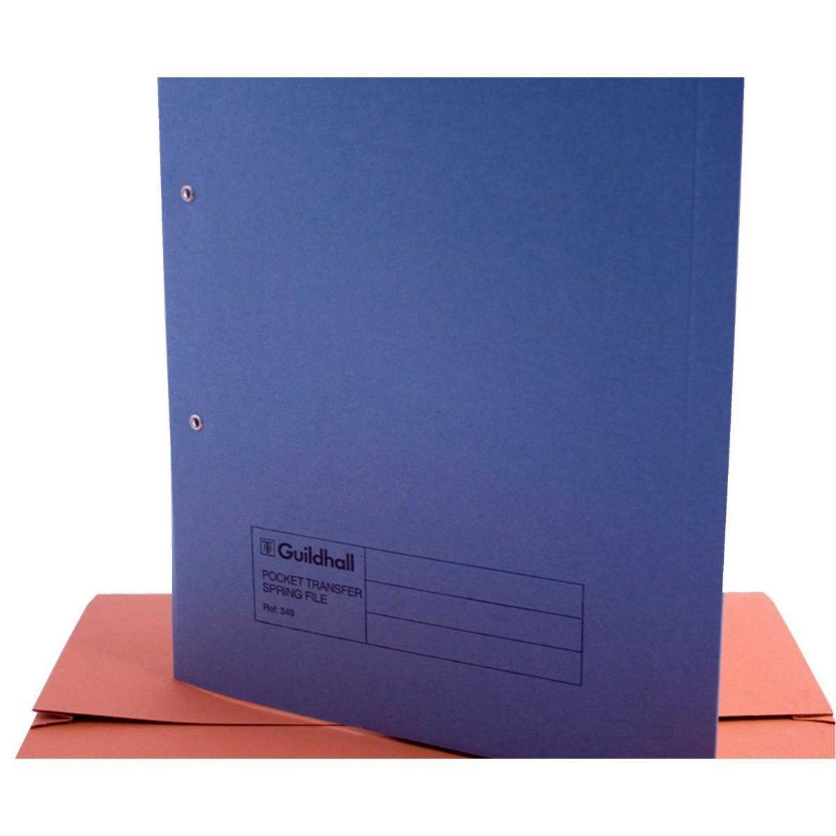 Pocket Transfer Spiral File Foolscap Pack of 25 Blue