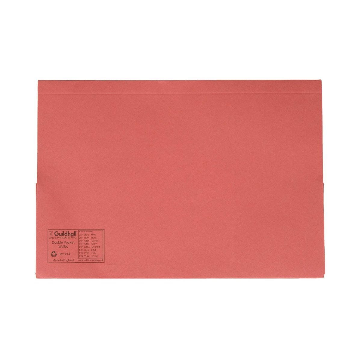 Guildhall Double Pocket Legal Wallets Foolscap 315gsm Pack of 25 Red