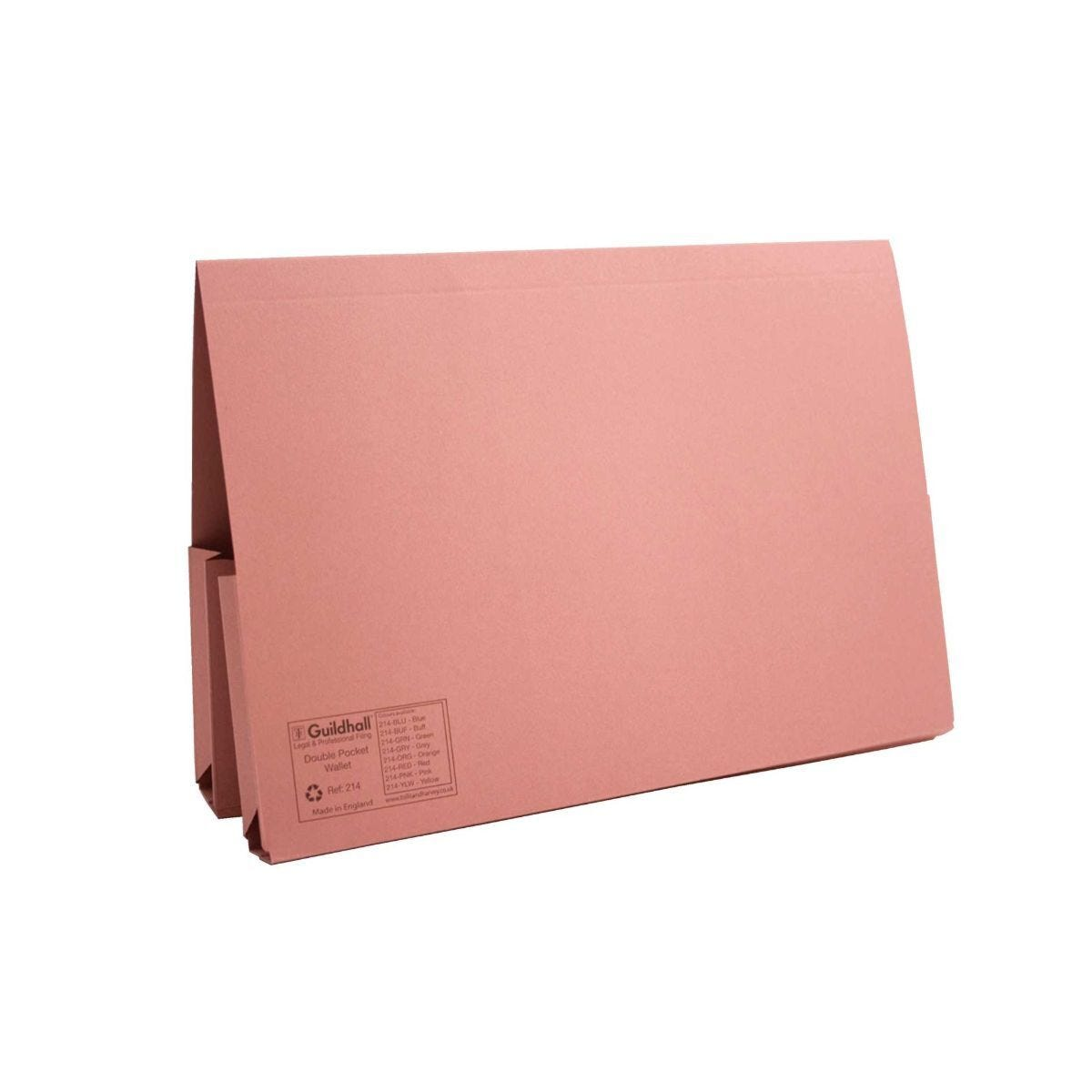 Guildhall Double Pocket Legal Wallets Foolscap 315gsm Pack of 25 Pink