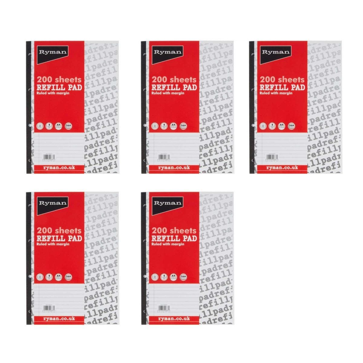 Ryman Refill Pad A4 Ruled With Wide Margin 400 Pages 200 Sheets Pack of 5