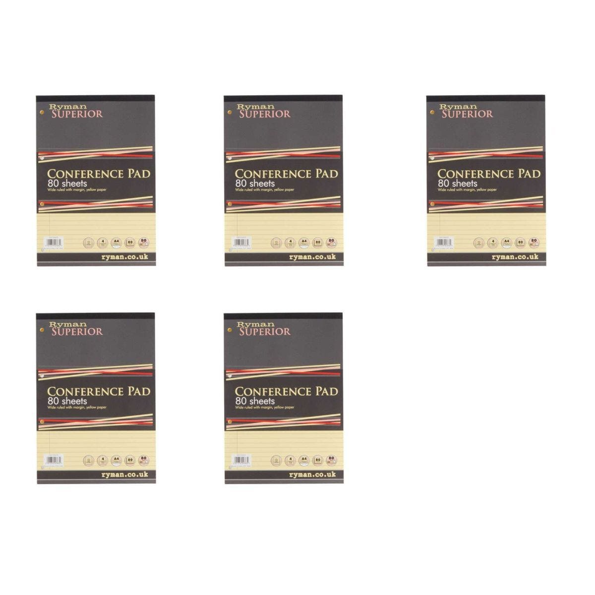 Ryman Superior Pad A4 Wide Ruled With Margin Pack of 5