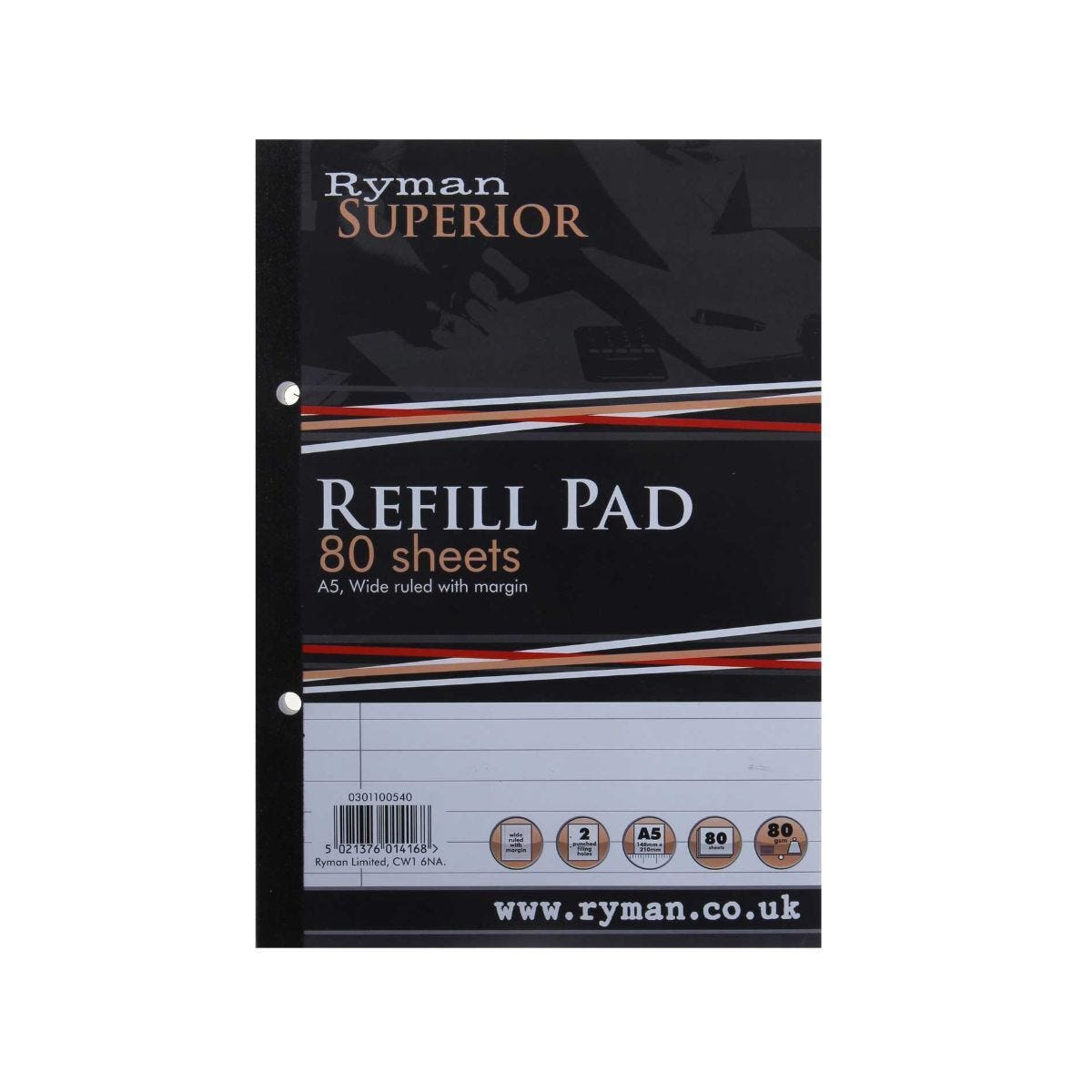 Ryman Superior Pad A5 Ruled Side Bound 160 Pages 80 Sheets Pack of 5