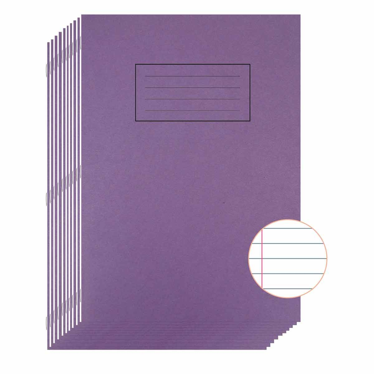 Silvine Exercise Book A4 80 Page Ruled 75gsm Pack of 10 Purple