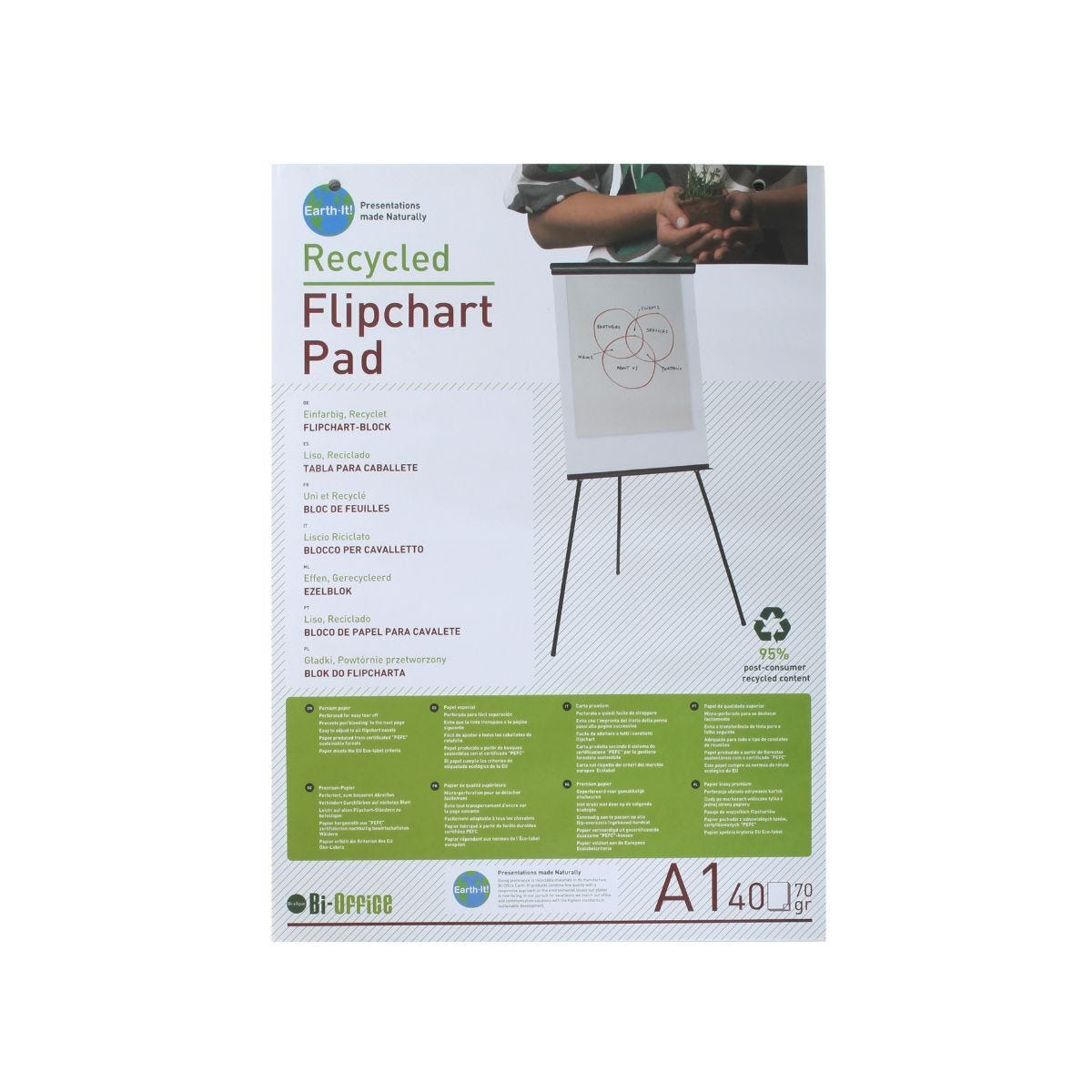 Bi-Office Flip Chart Pad A1 Recycled 40 Sheets Pack of 5