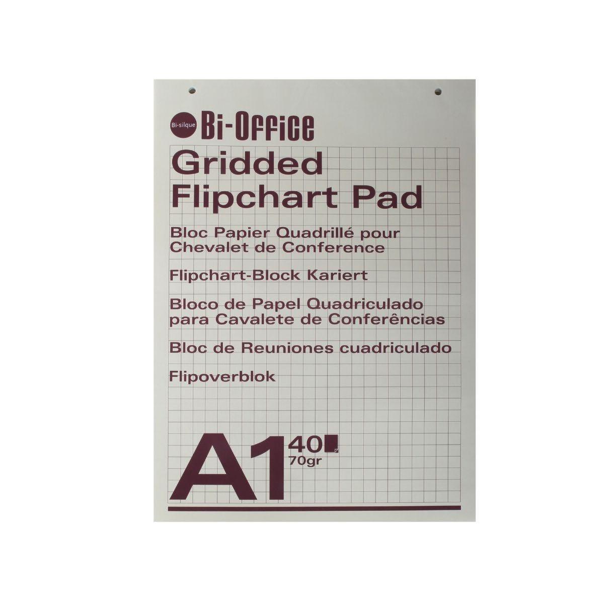 Bi-Office Gridded Flip Chart Pad A1 40 Sheet Pack of 5